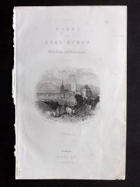 Finden works of Byron C1835 Antique Print. Eng Title Page, Lausanne, Switzerland